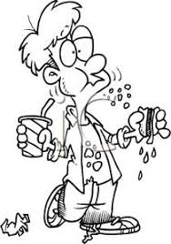 Clipart Image A Coloring Page Of Teenage Boy Eating Hot Dog And Drinking Soda