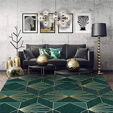 wohnzimmer teppich kurzflor designer matte dunkelgrüne gold geometrie 7mm dicke kristall samt waschbar rutschfest schlafzimmer esszimmer kinderzimmer