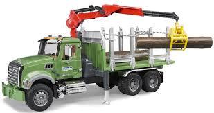 Mack Granite Timber Truck With Crane Vehicle Toy By BRUDER Trucks ...