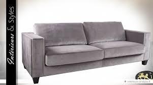 canapé velours gris grand canapé 3 places finition velours gris clair intérieurs
