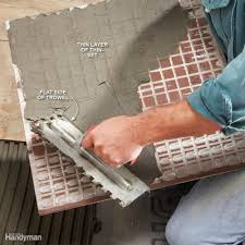 Tile Adhesive Over Redguard by Modern Tile Installation Tips Family Handyman