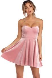 kiera pink velvet strapless party dress