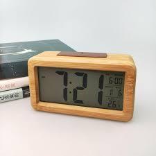 led bambus holz wecker digital alarmwecker uhr beleuchtet schlummerfunktion lc