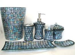 Beach Glass Bath Accessories by Mesmerizing 7pc Blue Glass Mosaic Soap Dispenser Dish Toothbrush