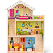 COSSY Wooden Doll House With 12 Pieces Of Furniture 3 Levels 4