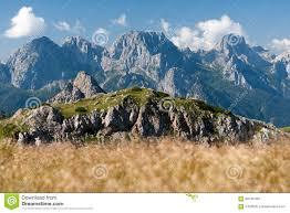 view of monte ferro passo sesis carnic alps dolomites italy