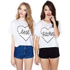 t shirt best bitches heart pattern print white t shirt short