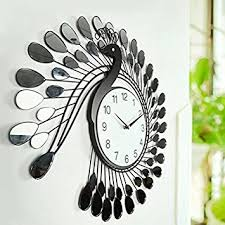Modern Design Creative Peacock Wall Clocks Home Decoration Living Room Metalic Muting Clock 20Inch