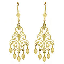 14K Yellow Gold Fancy Chandelier Earrings