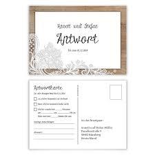 Antwortkarte Hochzeit Hochzeitskarten Antwort Postkarte Rustikal