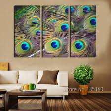 Peacock Feather Wall Art 3 Panel Decor Canvas Print Large Modern Painting Set Bedroom Home