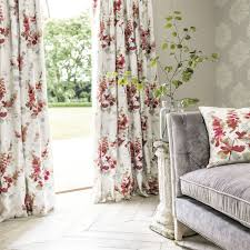 sanderson red modern flowers fabric for drapes cushion