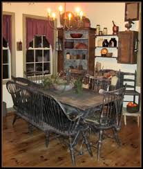 Farmhouse Dining Love The Table Chairs Wood Flooring Corner Cupboard