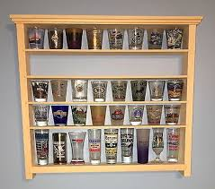 40 Shot Glass Shelf Display Case Knick Knack Rack Collectibles Unfinished Wood