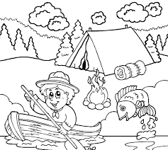 Boy Scouts Going Fishing Coloring Picture For Kids