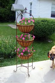Wrought Iron 3 Tiered Basket Plant Stand