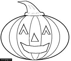 Halloween Pumpkin Smiling Coloring Pages For Kids