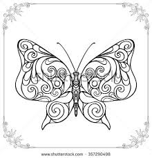 Coloring Book For Adult And Older Children Page Outline Drawing Decorative Butterfly