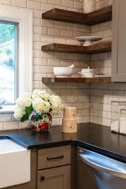 Wood Shelves Design Ideas by Black Kitchen Countertops Crisply Contrast A White Subway Tile