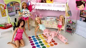 barbie bunk bed pink bedroom evening routine sleepover slumber