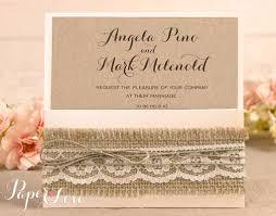 Wedding Invitation Kraft Rustic Lace Square Pocket