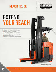Toyota Forklift Reach Truck Product Brochure By Toyota Forklift - Issuu Monolift Mast Reach Truck Narrow Aisle Forklift Rm Crown Equipment Exaneeachtruck Doosan Industrial Vehicle Europe 25 Tons Truck Forklift For Sale Cars Sale On Carousell Linde R 14 115 Price 5060 2007 Mascus Ireland Electric Reach Sidefacing Seated R20 R25 F Raymond Stand Up Telescopic Forks Vs Pantograph Meijer Handling Solutions 20 S Germany 13618 2008 2004 Atlet 16ton Electric With Charger In Arundel Toyota Tsusho Forklift Thailand Coltd Products Engine Trucks R14 R17 X