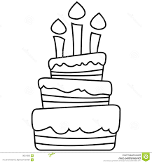 Best 15 Vector Illustration Birthday Cake Colored Black White Outlined Versions Image