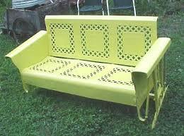 Veranda Metal Patio Loveseat Glider by Beautiful Vintage 50 U0027s Yellow Lattice Metal Porch Patio Glider