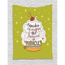 Cupcake Tapestry Cupcakes Are Muffins That Believed In Miracles Lettering Wall Hanging For Bedroom