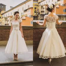 Vintage Scoop Cap Sleeves Tea Length A Line Lace Wedding Dresses 2017 Hand Made Flower Sash Arabic Country Rustic Bride Gowns