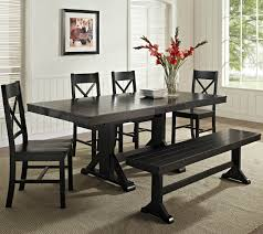 Heres A Great Cottage Style Dining Set With Bench While Its Dark Finish