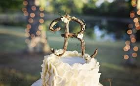 Letter R Rustic Twig Wedding Cake Topper