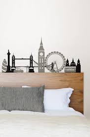 Alluring Boys Bedroom Decor With Grey Black London City Decals On White Wall Decoration Ideas