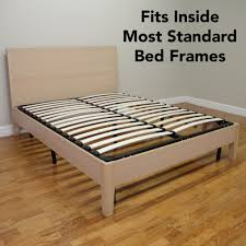 europa queen size wood slat and metal platform bed frame 127007