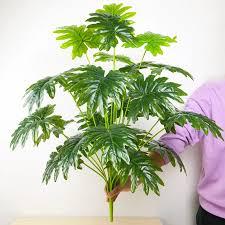 65cm 18 gabel große gefälschte palm baum kunststoff künstliche pflanze monstera tropical blätter für wohnzimmer hawaiian thema decor