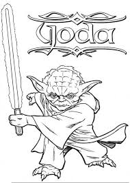 Master Yoda Swing Light Saber In Star Wars Coloring Page