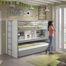 bureau superposé lits chambre literie lit superposé kyle blanc gris avec bureau