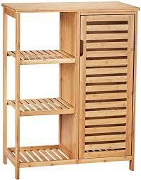 viagdo kommode sideboard bambus küchenschrank mit 3 offenen ablagen badezimmerschrank badschrank aus holz beistellschrank flurschrank küche