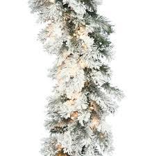 Vickerman 9 Flocked Alaskan Pine Artificial Christmas Garland With 50 Clear Lights Target