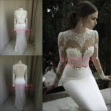 vestidos de noiva 2014 new arrival long sleeves sheer lace