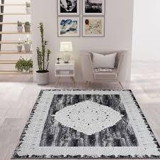 designer wohnzimmer teppich grau orientalisch vimoda homestyle