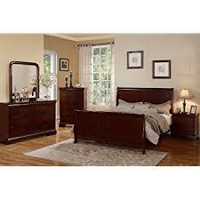 Amazon 4pc Queen Size Sleigh Bedroom Set Louis Philippe Style