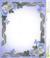 roses et bandes bleues de cadre de mariage illustration stock