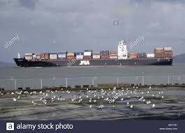 100 Shipping Containers San Francisco A Container Ship In Bay California USA Stock Photo