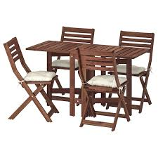 Table+4 Folding Chairs, Outdoor ÄPPLARÖ Brown Stained, Kuddarna Beige