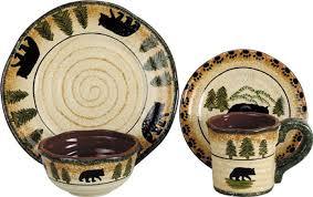 Rustic Bear Lodge Dinnerware Set Western Kitchen And