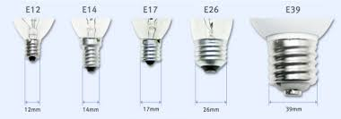 light bulb bases e12 is a candelabra base e26 is a medium base