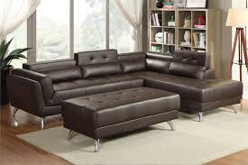 Poundex 3pc Sectional Sofa Set by F6976 Poundex Espresso Bonded Leather Sectional