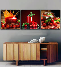 Wonderful 3 Panels Tomatoes Juice Paintings For The Kitchen Fruit Wall Decor Modern Canvas Art Pictures Red Hot Chili Pepper