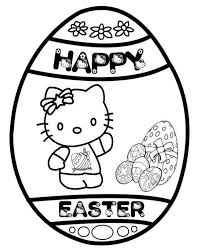 Hello Kitty Happy Easter Egg Coloring Page